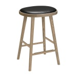 Colibri barstool 74cm oak grey, bonded leather black