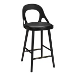 Colibri barchair 74cm oak black, bonded leather black